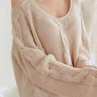 Warm Beige Off The Shoulder Chunky Knitted Sweater. Cozy Oversize Knit Top
