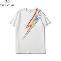 Valentino 2019 new men and women round neck color print T-shirt white