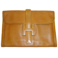 Hermes Vintage Jige GM Envelope Clutch Bag Cognac Color