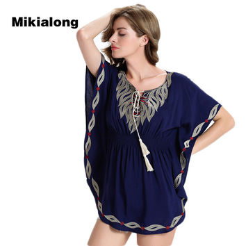 Mikialong 2017 European Style Peplum Top Vintage Tassel Lace Up Long Blouse Women Shirt Fashion Print Batwing Sleeve Blusa Mujer
