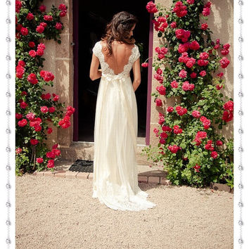 Lace Backless Wedding Dress,A line Cap Sleeves Wedding Dress , Materinity Wedding Gowns, Bridal Dress, Bridal Gowns,Pregnant Wedding Dress