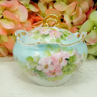 Antique Rosenthal Porcelain Hand Painted Covered Sugar Bowl Pink Flowers