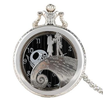 The Nightmare Before Christmas Theme Silver Women Pocket Watch Necklace Chain Men Girl Hollow Quartz Pendant Fashion Kids Gifts