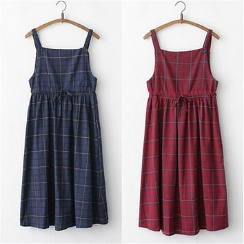 2017 Summer Suspender Midi Dresses Women Mori Girl High Waist Long Red Cute Preppy Japanese Casual Pleated Plaid Strap Dress