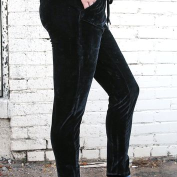 Velour Pant with Self Belt - Black by Dex Black Tape