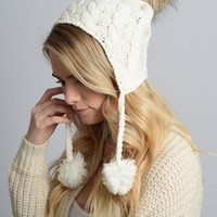 Cable Knit Ear Flap Beanie Cap Hat in White