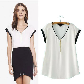 Stylish Zippers V-neck Short Sleeve Pullover Women's Fashion Tops T-shirts [5012807172]