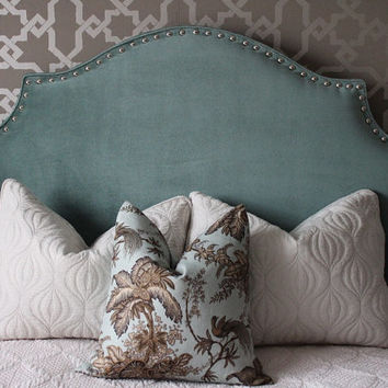 Ready to Ship - FULL Upholstered 'Cavendish' Velvet Headboard with hand applied nickel nailheads - DESIGNER SERIES