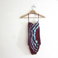 20% OFF SALE vintage 80s one piece swimsuit. maroon with blue and white stripes / size 11-12