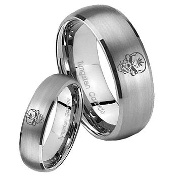 His Her Satin Silver Dome Skull Marijuana Leaf Tungsten Carbide Wedding Rings Set