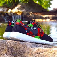 Roshe Aloha Hawaiian Floral Custom Hand Painted Mens Size 11 Nike Rosherun Shoes