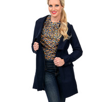 Navy Double Button Long Peacoat