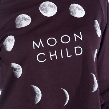Moon Child Cropped Sweatshirt - Plum from Tres Bien at Lucky 21