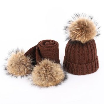 Women's Fur PomPom Cotton Knitted Beanie and Scarf