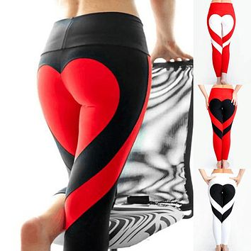 NORMOV S-3XL Women Sporting Push Up Leggings Autumn Heart Harajuku Leggings Activewear Polyester Leggings S-3XL 7 Colors