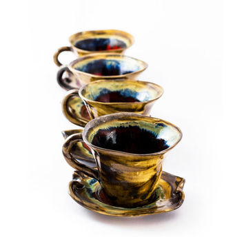 Set cups 4 tea coffee ceramic stoneware pottery  - unique handmade created with love to enamel colours - four cups
