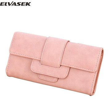 Elvasek hot sale wallets women pu leather zipper wallet women long style purse ID card holders ladies wallet high quality clutch