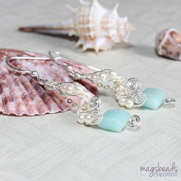 Swirl Swarovski Crystal Pearls Sterling Silver Wire Wrapped Earrings with Amazonite Gemstone Beads, Sea, Ocean, Beach Inspired