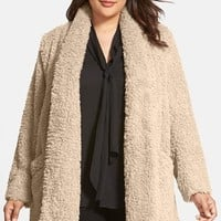 Plus Size Women's Kenneth Cole New York 'Teddy Bear' Faux Fur Clutch Coat