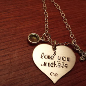"Hand stamped personalized heart shaped ""I love you"" necklace"