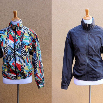Vtg 80's windbreaker reversible zip up pockets crazy pattern black red white blue HEAD track jacket multicolor