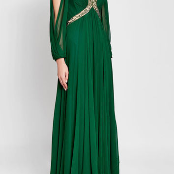 Floor Length Silk Chiffon Gown with Embellishment - Jenny Packham | WOMEN | US STYLEBOP.COM