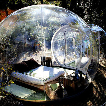 Outdoor camping clear inflatable bubble tent with tunnel
