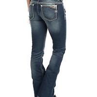 Miss Me Women's Faded Dark Wash with Zig Zag Stitches Open Back Pocket Boot Cut Jeans