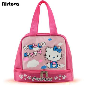 Hello Kitty Portable Dual Compartment Lunch Bag Insulated Large Capacity with Zipper Kit for Kids Accessories Supplies Products