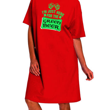 Just Here For The Green Beer Dark Adult Night Shirt Dress