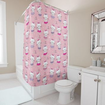 Cute Ballet Dancer Kitten - Light Pink Model Shower Curtain
