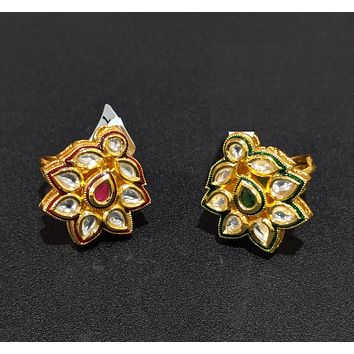 Kundan stone embedded adjustable finger ring