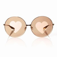 CHLOE SEVIGNY FOR OPENING CEREMONY BARTON PERREIRA CANDY - GOLD W/BROWN HEART LENS - WOMEN - ACCESSORIES - CHLOE SEVIGNY FOR OPENING CEREMONY
