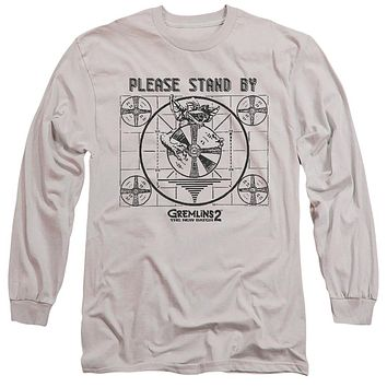 Gremlins 2 Long Sleeve T-Shirt Please Stand By Silver Tee