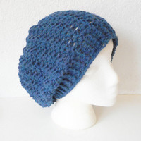 Wool Blend Lacy Slouch Beanie Hat in Blue Mist, ready to ship.