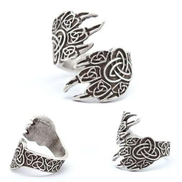 VONG2W 1pcs Celtics Wolf Paw Ring For Men Women Norse Vikings Rings Adjustable Bear Wolf Rings Viking Jewelry RG18