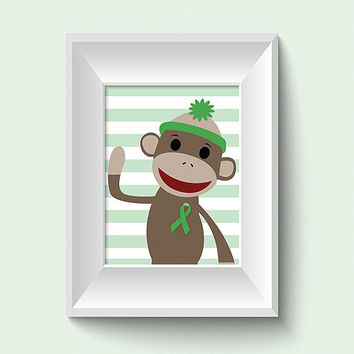 Sock Monkey Art 8x10 Art Prints Sock Monkey Nursery Artwork