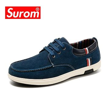 SUROM Men's Suede Casual Shoes British Man Business Shoes Chamois Leather Lace up Men Flat Oxford Shoe Luxury Boat Shoes