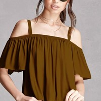 Lush Chiffon Open-Shoulder Top