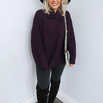 It's Cold Out There Sweater: Plum