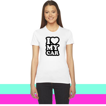 I love my cars women T-shirt