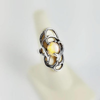 Modernist Sterling Ring - Sterling Silver Opal Ring Size 7 - Mod Opal Ring - Vintage Silver Opal Ring - Honey Opal Sterling Ring