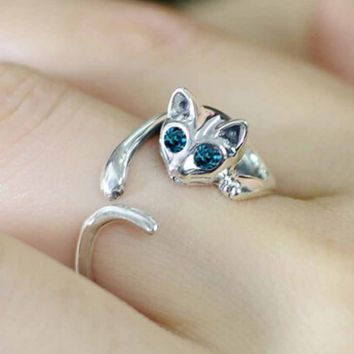 Kitten Silver Plated Ring