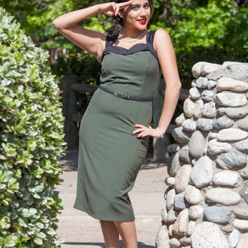Closeout Sale  Pinup Teal or Army Green  Wiggle Dress