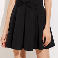 Bow Front Box Pleated Skirt -SheIn(Sheinside)