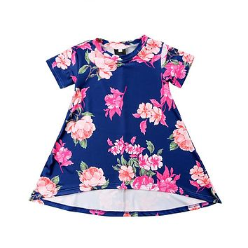Sweet Kids Girls Princess Dress Summer Fashion Kid Girl Short Sleeve Flower Printed Dresses Hot Baby Girls Dresses