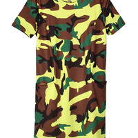 Camouflage Round Neckline Short Sleeve Mini Dress