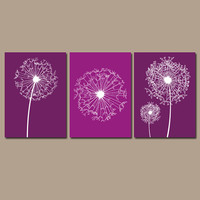 DANDELION Wall Art Purple Plum Bedroom Wall Art Bathroom Wall Art Bedroom Pictures Flower Wall Art Dandelion Prints Set of 3 Home Decor