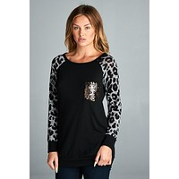 Leopard Print Sequned Top - Black and Grey