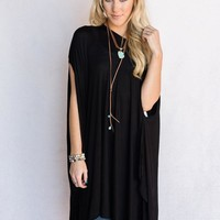 The Wren Oversized Tunic Top - Black
